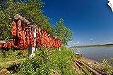 Canvas on Demand Wall Peel Wall Art Print entitled Red Salmon hang on drying rack along Kuskokwim River shoreline 48 x32