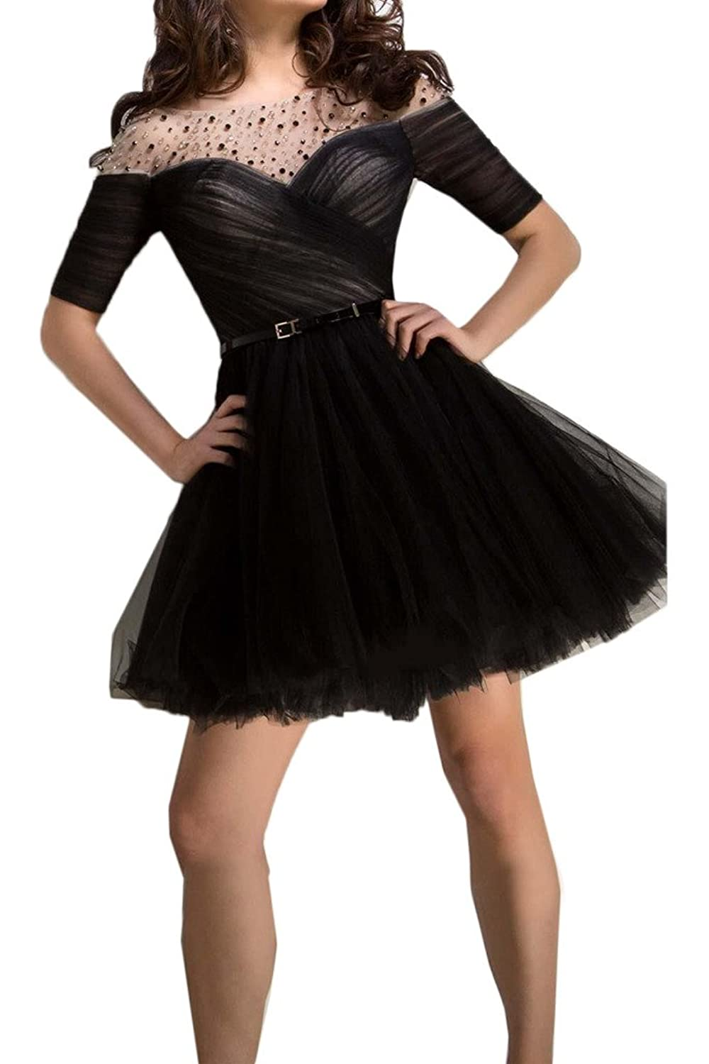Ivydressing Tulle and Charmeuse Cocktail Gowns Short Sleeves Homecoming Dresses