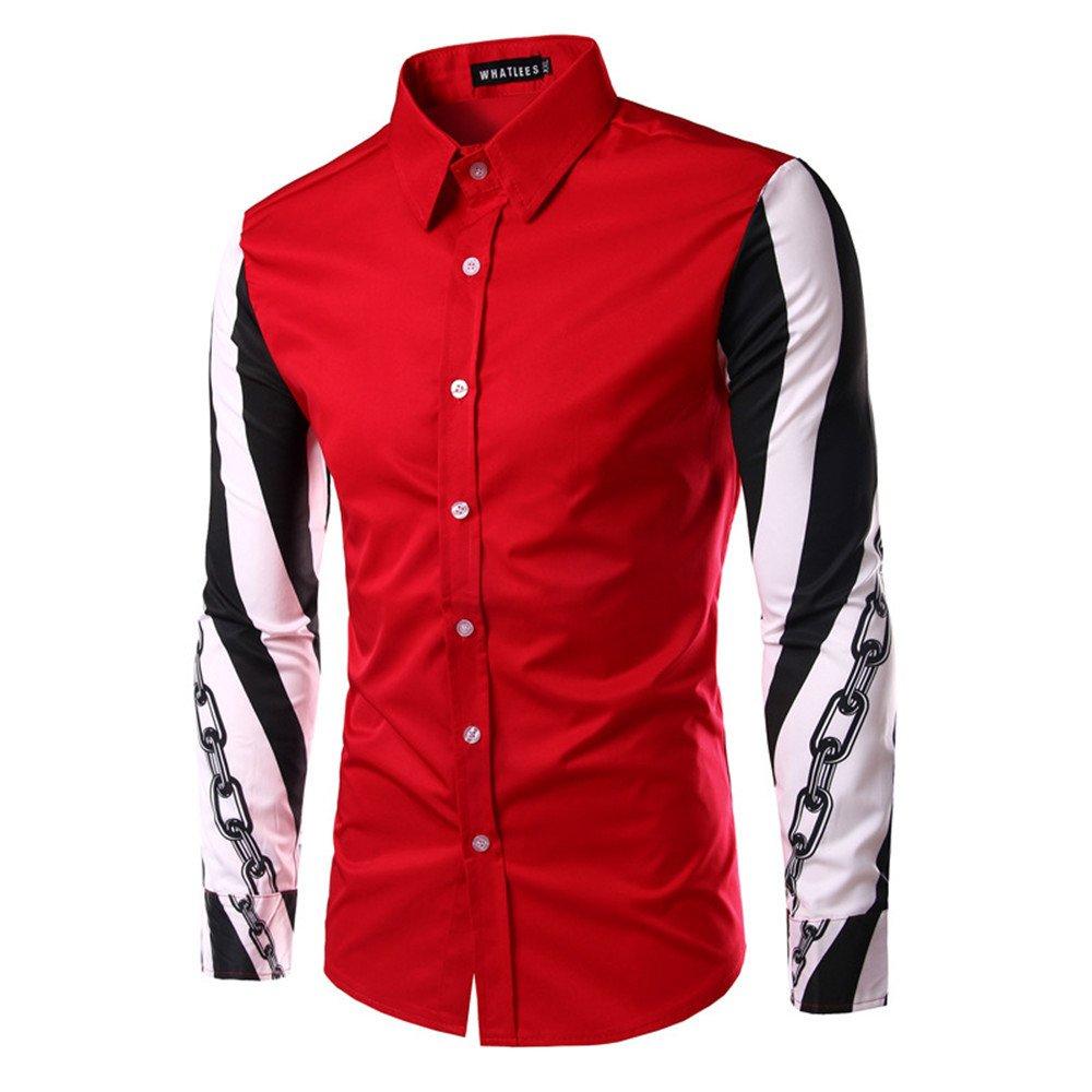 Lixus Mode langärmelige Shirt Langarm - Shirt Reparatur - männer - Design,Rot - rot,XL