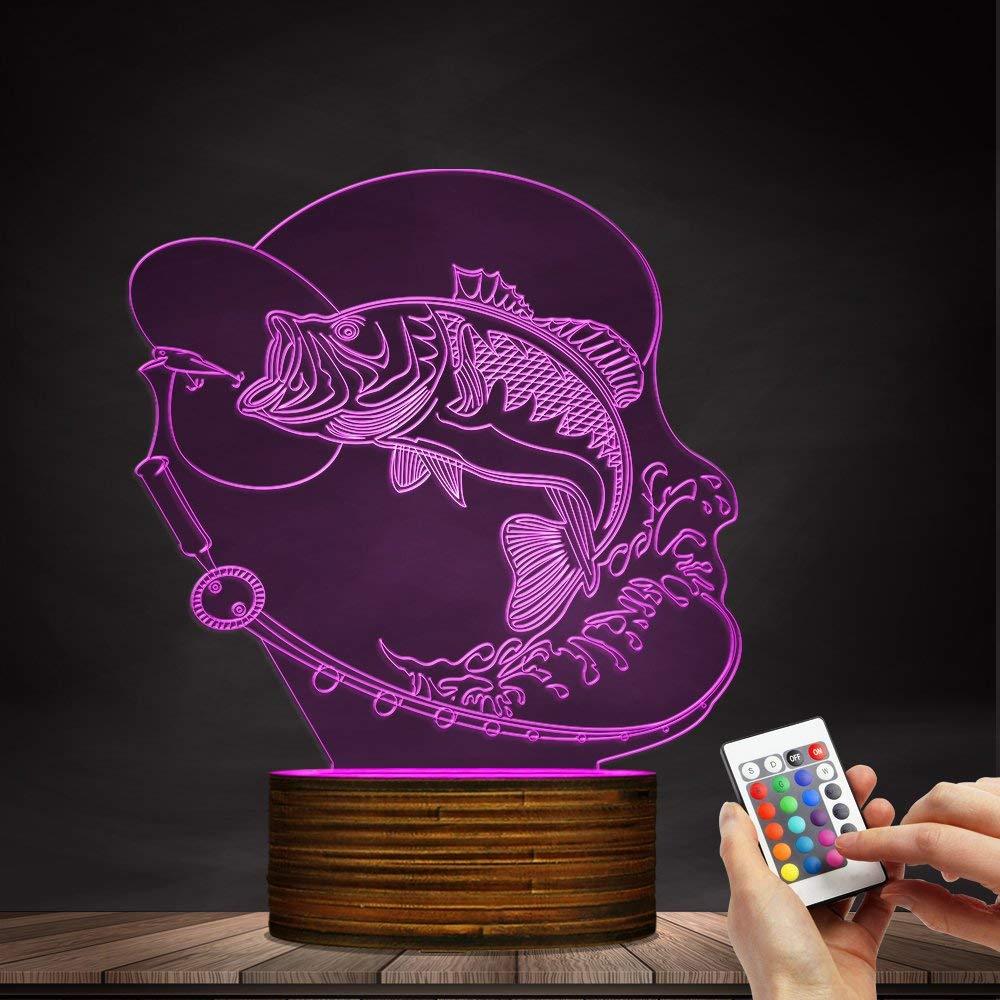 Carl Artbay Fishing LED Table Lamp Fisherman Bedroom Lighting Decoration Gifts, Fishing Enthusiasts