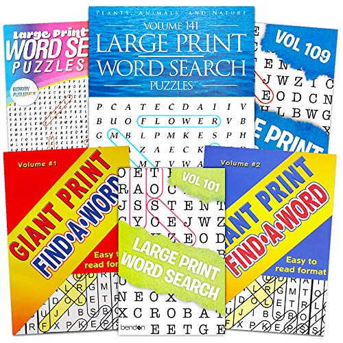 Large Print Word Search Books for Adults Super Set -- 6 Jumbo Word Find Puzzle Books with Large Print (Over 800 Pages Total)
