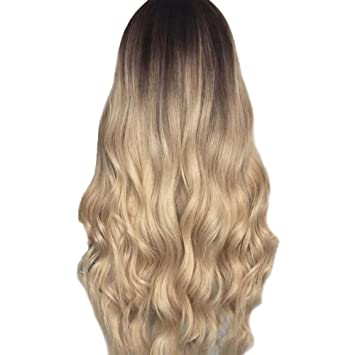 Sunday Perücken Blond Lang Wigs Lace Front Ombre Perücke