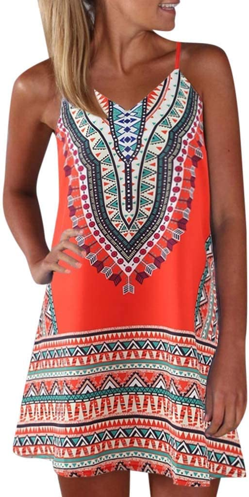 Women Boho Sleeveless Midi Dresses Criss Cross Backless Tank Dress Tribal Aztec Print Loose Flowing Sundress 2019 Summer Casual Beach Party Wedding Dress