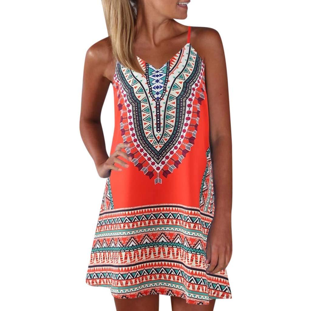 Womens Vintage Printed Vest Dress Summer Sleeveless V Neck Color Block Shirt Mini Sundress  (L, Orange)