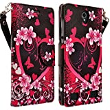 HTC One A9 Case, HTC One A9 Wallet Case, HTC Aero Case by iViva For Luxury Magnetic ID Folio Wallet Book Case (Pink Heart Dancing Butterfly)