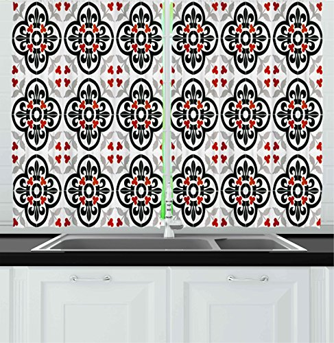 Ambesonne Kitchen Decor Collection, Ceramic Tile Folk Art Decoration Pattern Absract Background Traditional Wallpaper, Window Treatments for Kitchen Curtains 2 Panels, 55X39 Inches, Grey Black Red