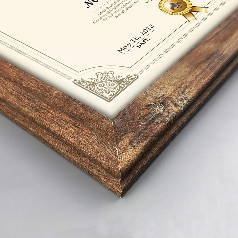 Artsay 8.5x11 Certificate Document Diploma Frame Rustic Distressed Picture Frames 8.5 x 11 Set, Wall Hanging and Tabletop, 2 Pack, Brown by Artsay (Image #2)