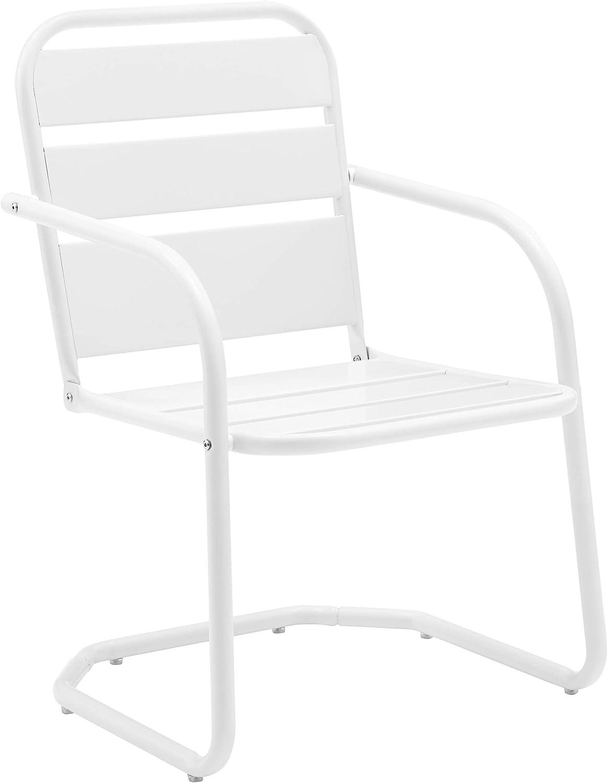 Crosley Furniture CO1030-WH Brighton Retro Metal Chair, Set of 2, White