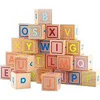 NUOLUX Alphabet Blocks Wooden Block Letters Preschool Kindergarten Building Toy 26pcs