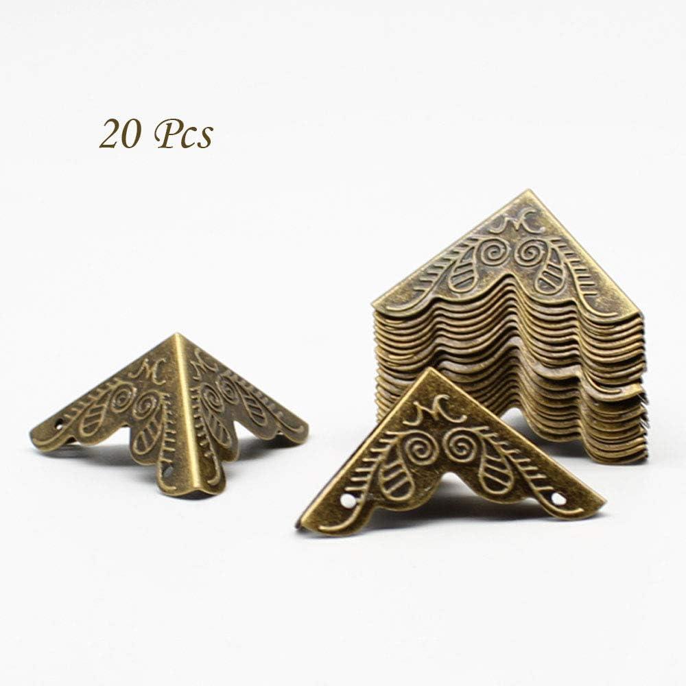 Metal Corner for Wooden Box Furniture Table Guards Desk Edge Decorative Triangle25*25*25mm LUCY WEI 20pcs Box Corner Protectors Bronze