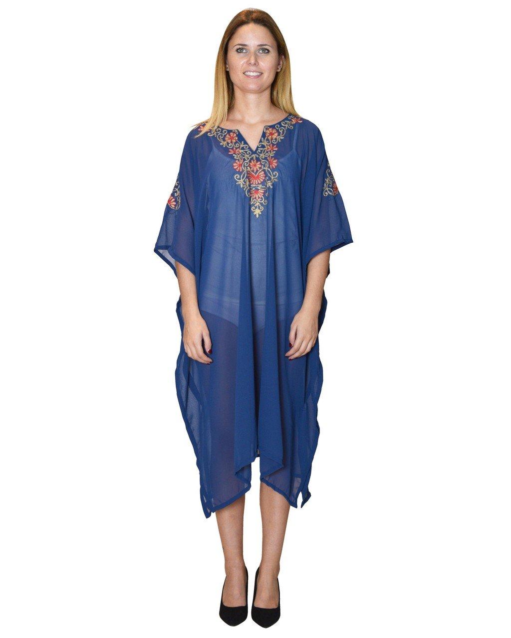 Bayside Barcelona Vestido de Kaftan de la Playa del Partywear del Bordado de Oro Azul Marino Talla G: Amazon.es: Electrónica
