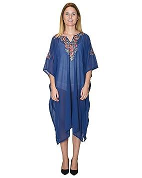 Bayside Barcelona Vestido de Kaftan de la Playa del Partywear del Bordado de Oro Azul Marino