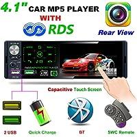 LSLYA autoradio1 DIN MP5 Player 4,1 Pouces écran Tactile pour Voiture, Support Bluetooth avec Mains Libres FM/AM/RDS AUX TF télécommande à Distance