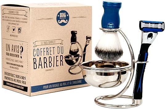 Big bigote bm-pack-complete-barber estuche del barbero cuenco de afeitar/jabón de afeitar/brocha de afeitar/Soporte en Acero Inoxidable: Amazon.es: Salud y cuidado personal