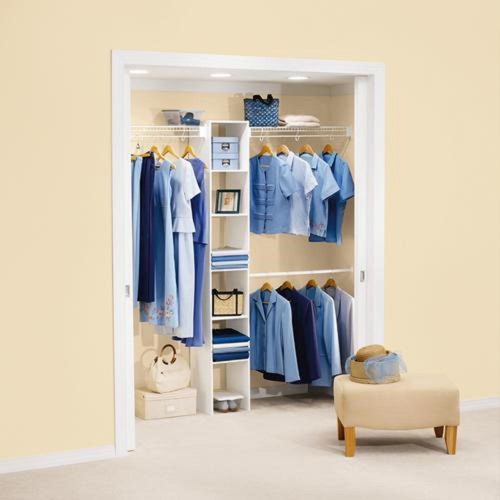 Rubbermaid 5'-8' Wardrobe Organizer Kit w/ 6-Shelf Melamine Cubby - White by Rubbermaid