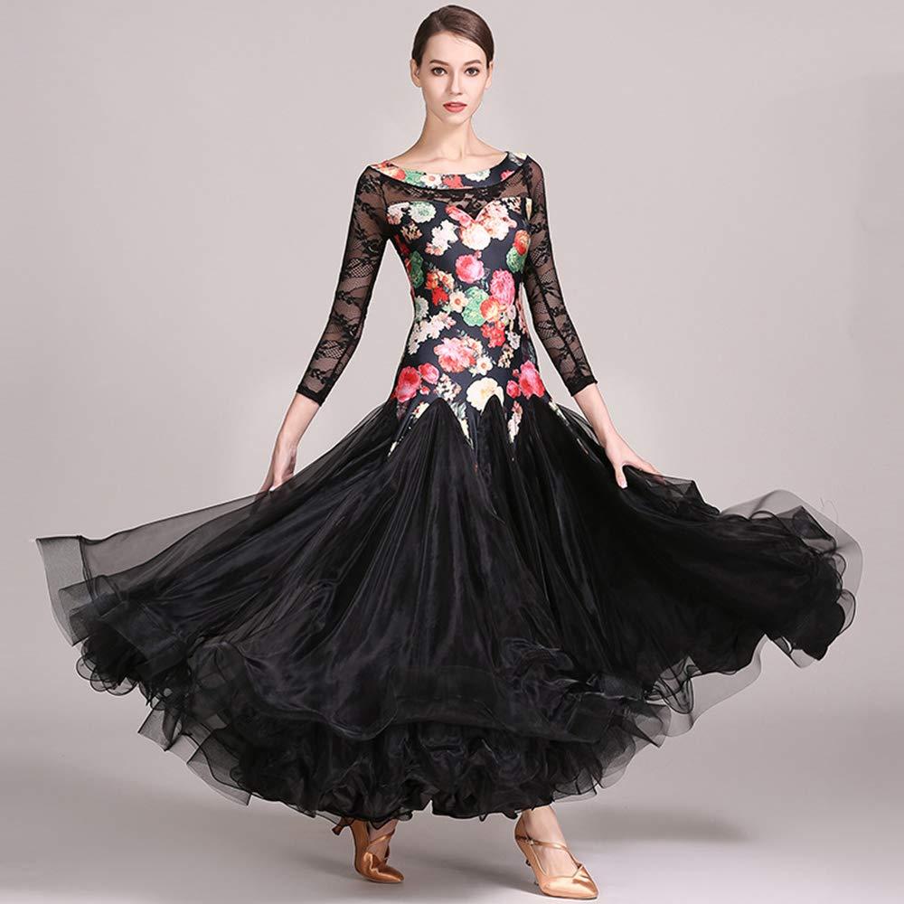 【オープニング 大放出セール】 現代の女性の大きな振り子高密糸ファッションモダンダンスドレスタンゴとワルツダンスドレスダンスコンペティションスカートレース長袖ドレスダンスコスチューム Black XL|Black B07HHP7S6L B07HHP7S6L XL|Black Black XL, ランプ一番:a7258c97 --- a0267596.xsph.ru