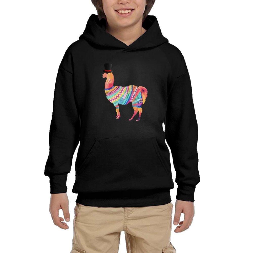 Youth Black Hoodie This Is My Fancy Hat Llama Hoody Pullover Sweatshirt Pocket Pullover For Girls Boys S by Hapli