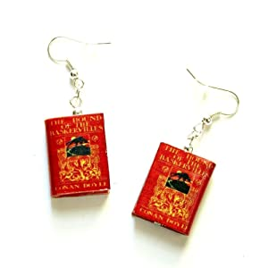 Hound of the Baskervilles Sherlock Holmes Arthur Conan Doyle Mini Book Earrings Choose Your Hardware