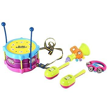 Homyl 5 Unids Juguete de Instrumentos Musicales Infantil Tambor Maracas Sonajeros Juehod e Sonido para Bebés Niño: Amazon.es: Juguetes y juegos