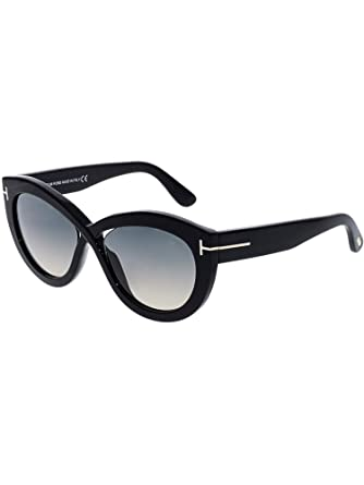 e28bf8bf4e322 Amazon.com  Tom Ford FT0577 01B Shiny Black Diane Oval Sunglasses Lens  Category 2 Size 56mm  Tom Ford  Clothing