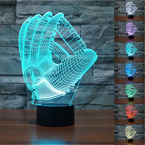 3D Baseball Gloves Night Light Touch Table Desk Optical Illusion Lamps 7 Color Changing Lights Home Decoration Xmas Birthday Gift