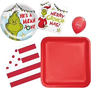 Grinch Party Plates and Napkins- Grinch party Supplies Place Settings Bundle with Dinner and Dessert Plates with Luncheon and Beverage Napkins for 16 guests with Balloon