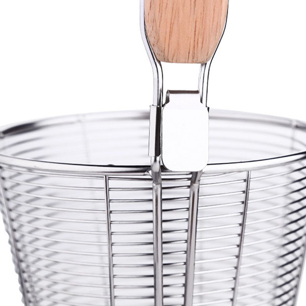 XH Stainless Steel Strainer Basket with Long Handle, Frying Food Noodles Dumpling Fondue Mesh Basket (L) by XHHOME (Image #5)