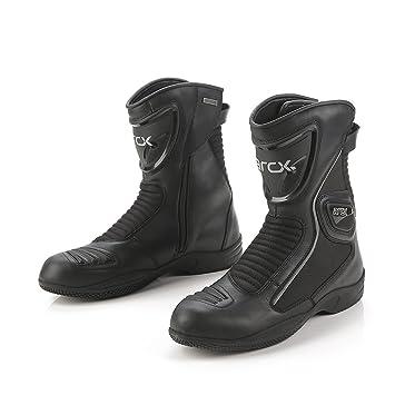 Botas Impermeables Antideslizantes de la Motocicleta Negras Botas auténticas de la Vaca de Cuero Carreras de