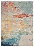 "Nourison Celestial (CES02) Modern Watercolor Area Rug, 5'3"" x 7'3"", Multicolor Sealife"