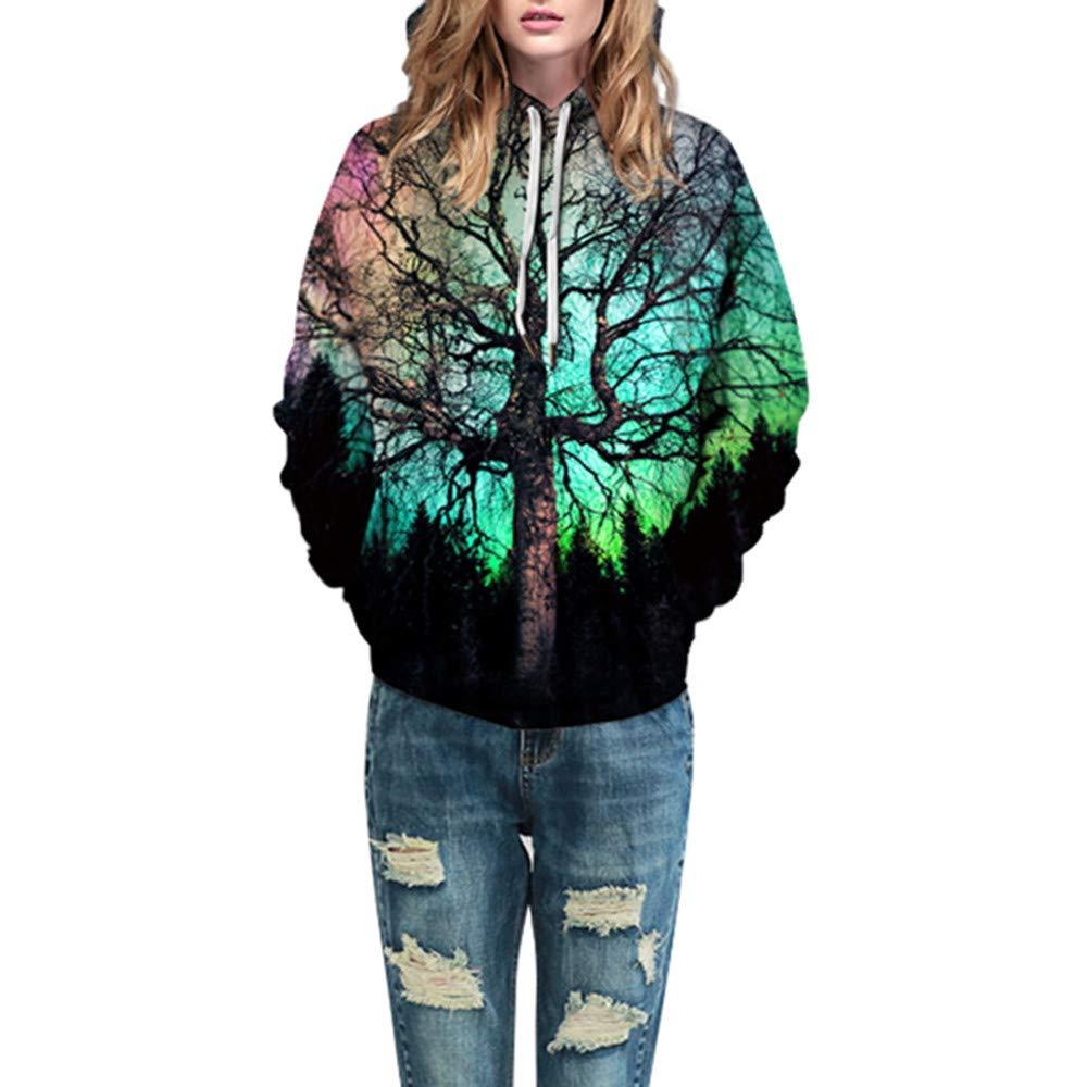 Photno Womens Hooded Sweatshirts, Pullover Hoodies Winter 3D Print Tops Shirt Blouse Coat Outwear