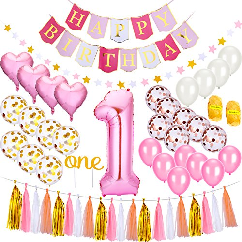 (Tatuo Set of 55 1st Baby Girl Birthday Decoration Set, Including Latex Balloons, Mylar Balloons, Banners, Paper Tassels, Cake Topper, Base on Baby Girl Pink)