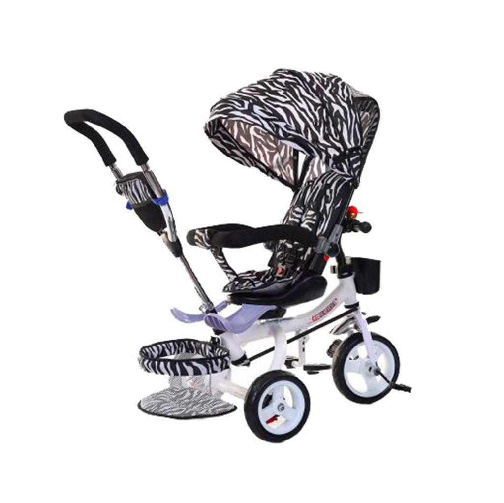 KANGR-子ども用自転車 多機能Foldable子供の三輪車キッドトロリープッシュハンドルストール自転車アンチUV天井3ホイールBike | 1-3-6歳の少年と少女のために|ロータリー席|シマウマパターン ( 色 : C型 cがた ) B07BTMJ9Z6 C型 cがた C型 cがた