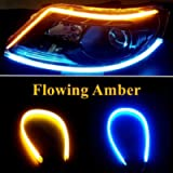 OONOL 2Pcs 18 Inches Dual Ice Blue/Sequence Amber LED Strip Light, Waterproof Flexible Car Daytime Running Light Strip…