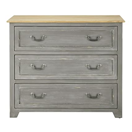 Aprodz Mango Wood Storage Cabinet Natal Chest of 3 Drawers Furniture for Living Room | Natural Grey
