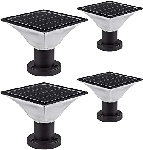Solar LED Post Cap Lights Outdoor Solar Powered Deck Post Lights Waterproof Solar Powered Caps fits 4×4 or 6×6 Posts 4 Pack