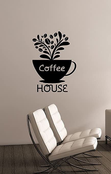 Coffee House Sign Window Decal Removable Vinyl Sticker Modern Wall