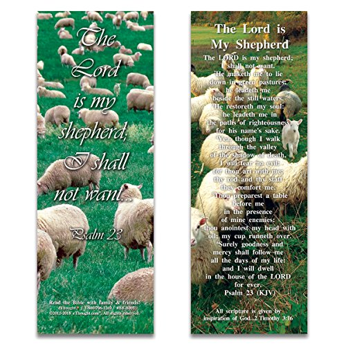 (eThought BB-B001-25 Psalm 23: The Lord is My Shepherd Bookmark Size Bible Verse Cards (Pack of 25))