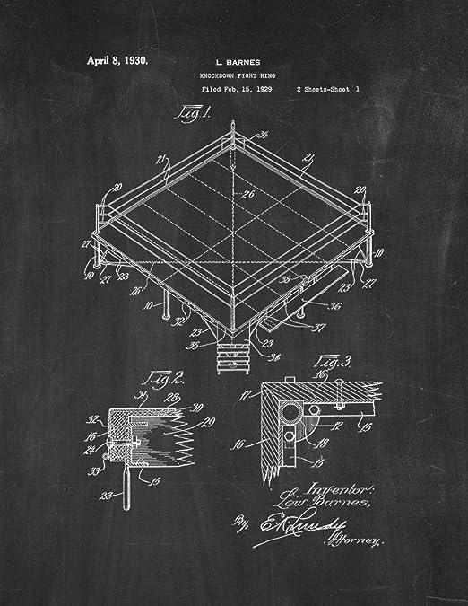 Frame a Patent Boxing Knockdown - Pizarra (27,9 x 35,5 cm), diseño ...