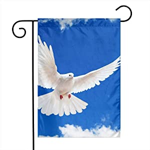 Blue Sky Clouds White Dove Wallpaper Garden Flags House Indoor & Outdoor Holiday Decorations,Waterproof Polyester Yard Decorative for Game Family Party Banner