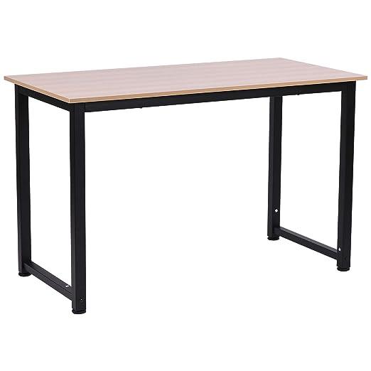 Homcom - Mesa de escritorio de madera MDF de color roble y patas ...