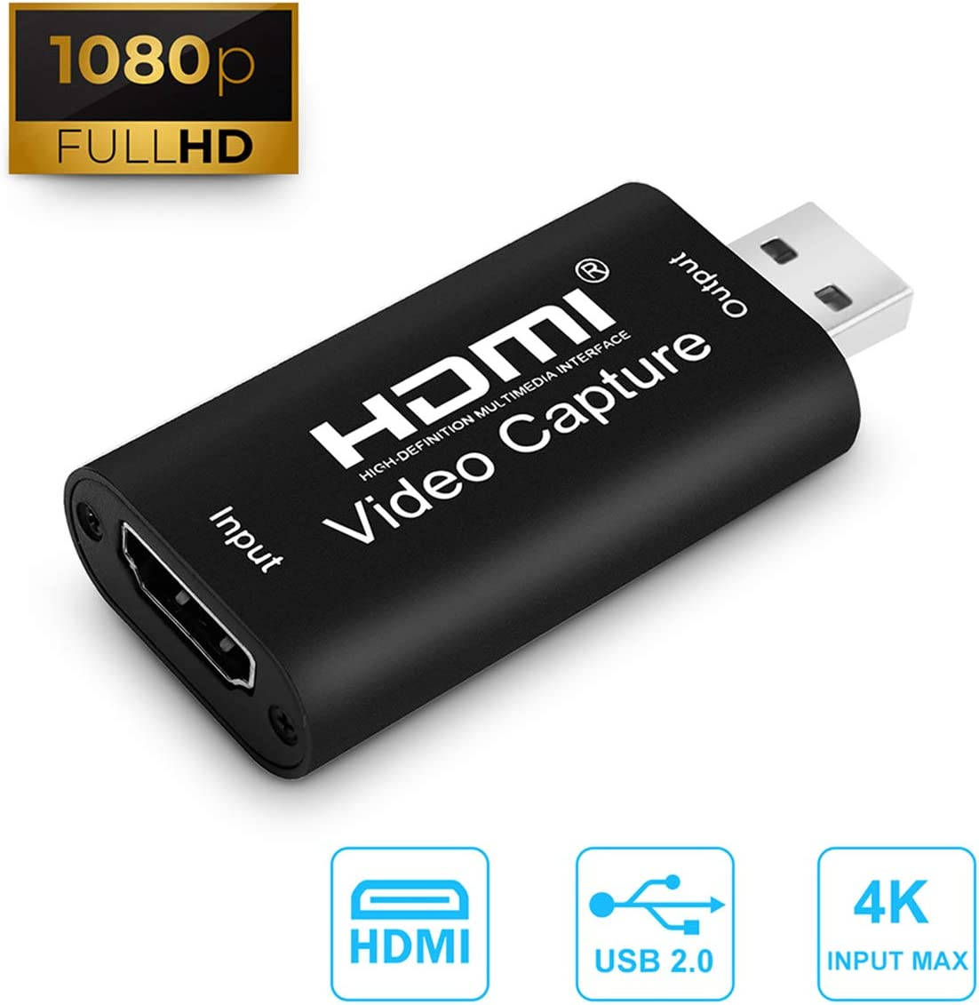 Ench HDMI Capture Card USB 2.0 Audio Video Capture Converter,1080P high-Definition Acquisition, widely Used in DIY Video Such as Game Live,Web Live,Teaching Live