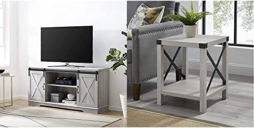Walker Edison Furniture Company Modern Farmhouse Sliding Barndoor Wood Stand for TV s up to 65 , 58 Inch, Stone Grey Rustic Modern Farmhouse Metal and Wood Square Side Accent, 18 Inch, Stone Grey