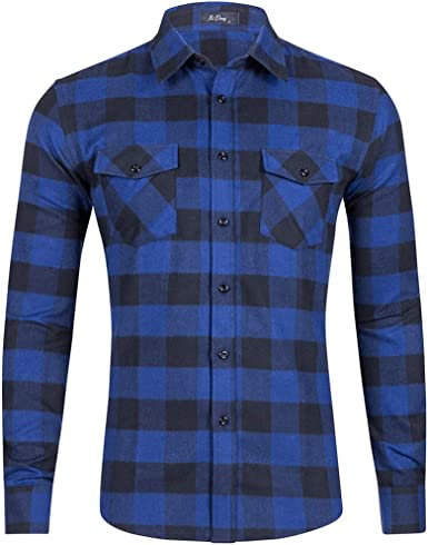 SoonerQuicker Camisas Hombre Manga Camisa de Manga Larga Casual de la Moda de los Hombres Doble Bolsillo Enrejado de la Camisa Impresa - 2019 última Camisa Casual cómoda: Amazon.es: Ropa y accesorios
