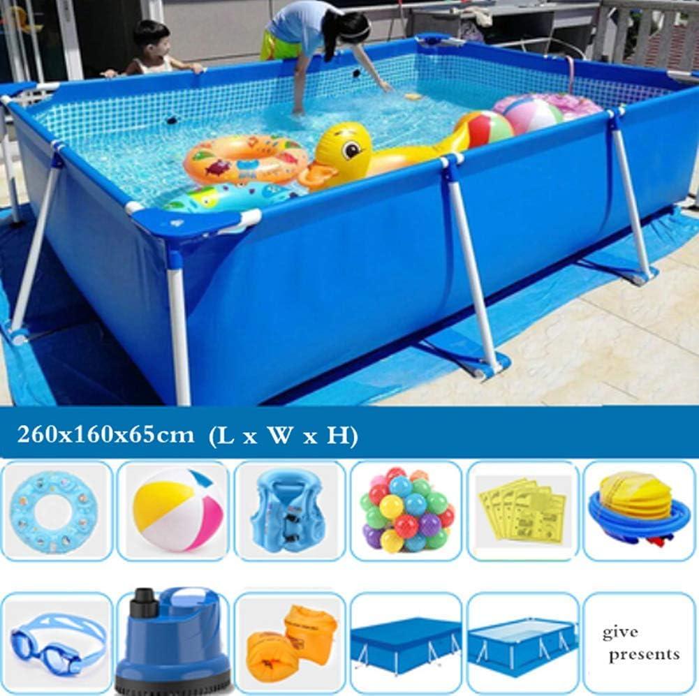 TYP Mall Deluxe Splash Frame Pool Desmontable Tubular Piscina para Adultos Grande Y Gruesa Al Aire Libre Alrededor De Los Niños PVC De 3 Capas Prevención De Grietas,260x160x65cm