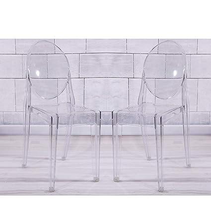 Lamshine - Juego de 2 sillas de Comedor apilables de acrílico Transparente