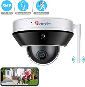 PTZ Camera 5MP Security Camera Auto Tracking Outdoor Indoor, WiFi Security Camera Home Surveillance System Night Vision Human Detection Waterproof IP 66 Pan 355°Tilt 90°