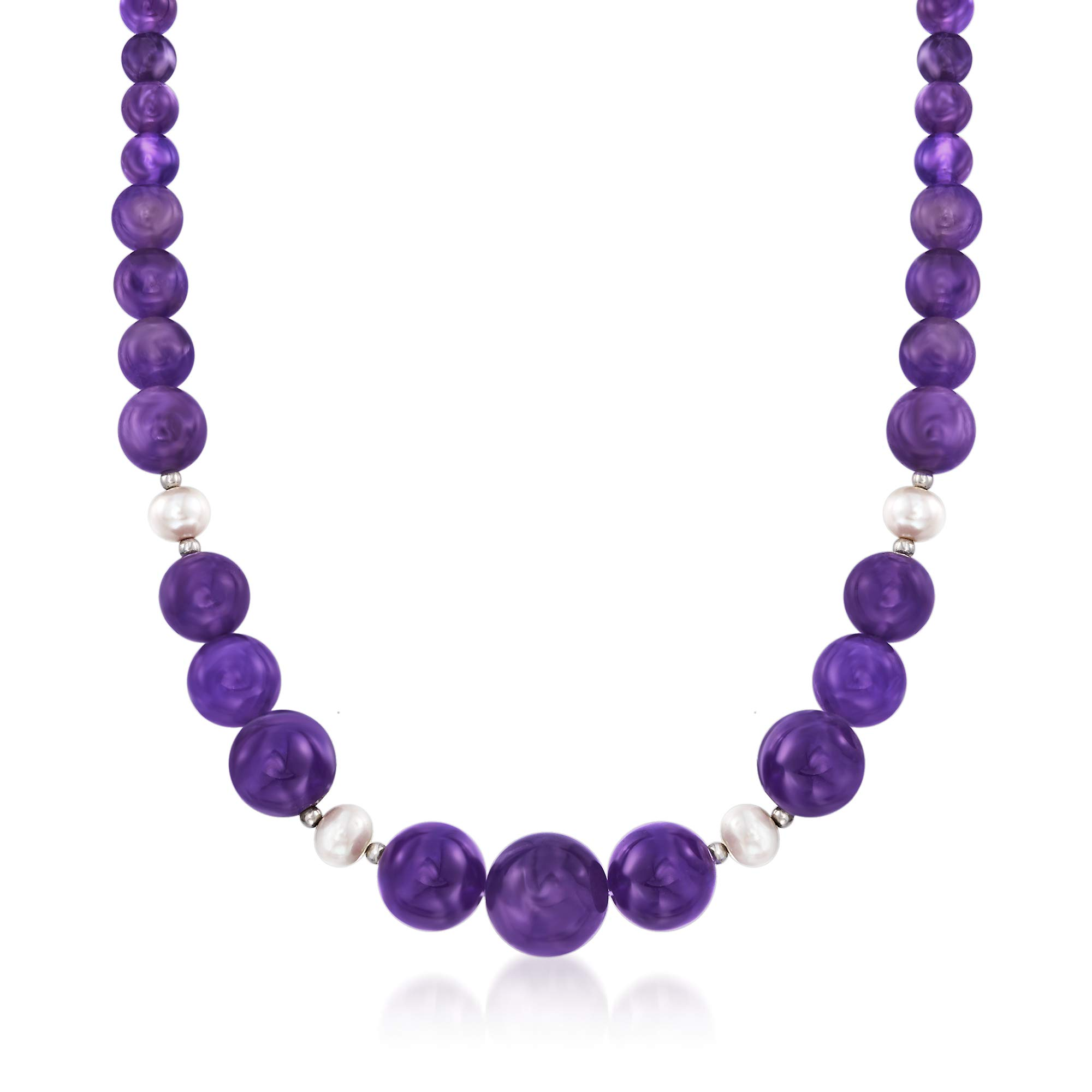 Ross-Simons 4-16mm Amethyst Bead and 8-9mm Cultured Pearl Necklace With Sterling Silver
