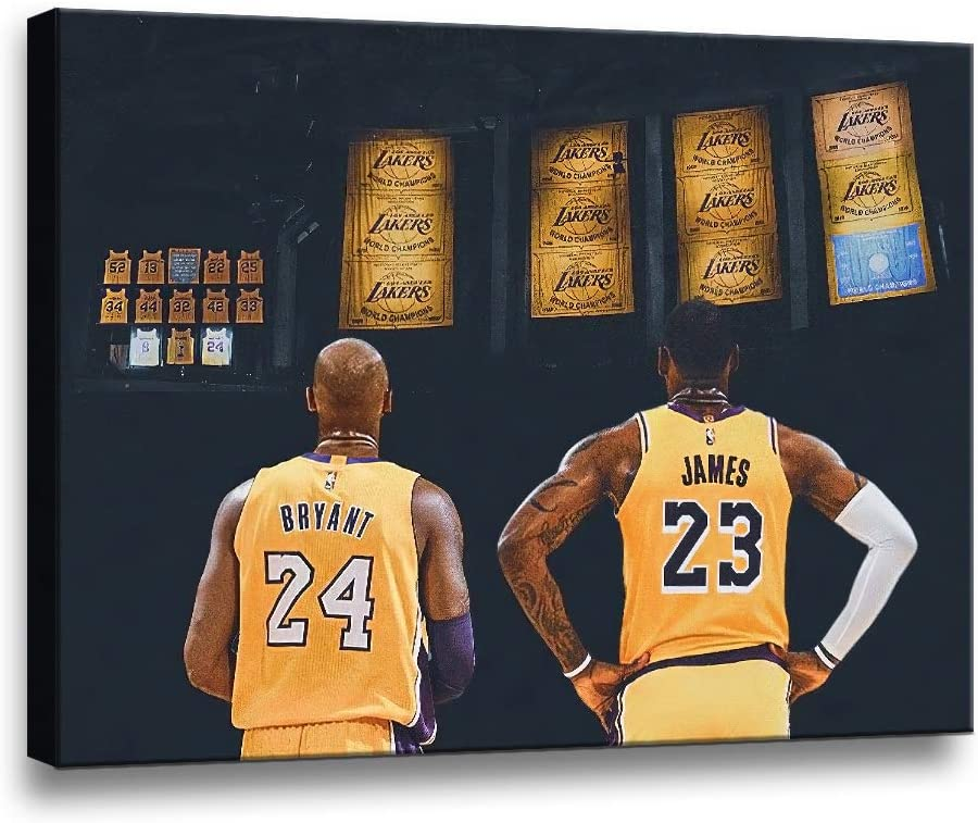 TWO J Legends Basketball Star Kobe Bryant and Lebron James Classic Posters HD Prints on Canvas Modern Home Decor Wall Art Painting Picture Stretched and Framed Artwork Ready to Hang [18''Wx 12''H]
