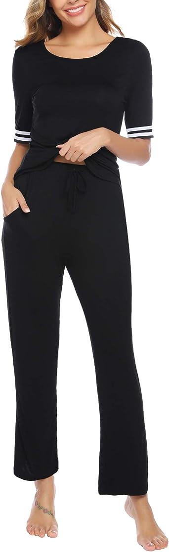 Sykooria Pijama Mujer Invierno Cálido Conjunto de Pijama para Mujer de 2 Piezas Arriba y Pantalon de Pijama Larga Ropa de Dormir de Cuello Redondo ...