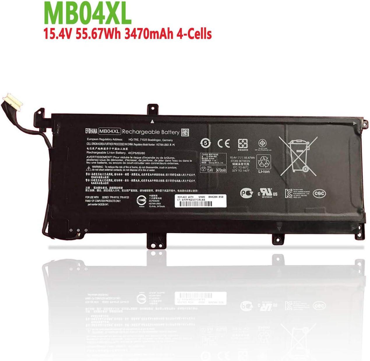efohana MB04XL Laptop Battery Replacement for HP Envy X360 M6 M6-AQ000 15 inch 15-AQ100 Convertible PC Series MBO4XL HSTNN-UB6X TPN-W119 TPN-W120 843538-541 844204-850 15.4V 55.67Wh 3470mAh